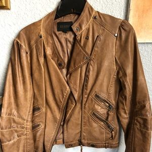 Blu Pepper Brown faux leather motorcycle jacket